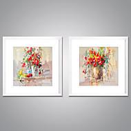 Impresiones  Enmarcadas En Lienzo Abstracto Floral/Botánico Modern Realismo,Dos Paneles Lienzos Cuadrado lámina Decoración de pared For