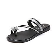 Золотой Черный Серебряный-Для женщин-Повседневный-Полиуретан-На плоской подошве-Удобная обувь-Тапочки и Шлепанцы