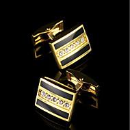 Dugme za manšetu Tie Bar Tie Clip Kamen Moda Poklon kutije i vrećice Mandzsettagombok Zlatna 1 par
