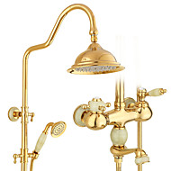 Country Art Deco/Retro Modern Shower Only Rotatable with  Ceramic Valve Single Handle Two Holes for  Ti-PVD , Shower Faucet