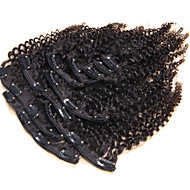 100% human hair natuurlijke clip in human hair extensions kinky culry brazilian hair clip in extensie 10st / set 120g
