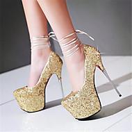 Feminino Saltos MaryJane Couro Ecológico Verão Casual MaryJane Penas Salto Agulha Dourado Branco Prata 12 cm ou mais