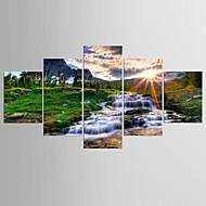 Taideprintit Maisema Classic Pastoraali,5 paneeli Kanvas Mikä tahansa muoto Tulosta Art Wall Decor For Kodinsisustus