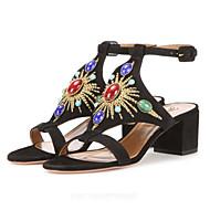 Women's Sandals Spring Summer Fall Comfort Novelty Suede Wedding Dress Party & Evening Chunky Heel Block Heel Buckle Black Beige Brown