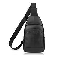 Homem Sling sacos de ombro Couro de Gado Todas as Estações Casual Preto