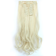 12pcs/Set 150g  Platinum Blonde Wavy Hair Extension Clip In Synthetic Hair Extensions