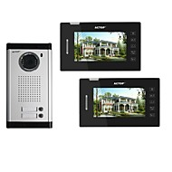 ACTOP 7inch 4wire Touch Screen Multi Apartment Video Door Phone Intercom System With 2 Call Buttons