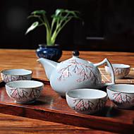 japonské švestkové květy ručně malované vysoké teploty porcelánu čajový set s konvičkou (600 ml) a pět šálků (50 ml každého)