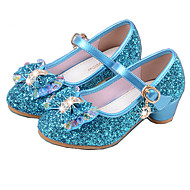 Girls' Heels Spring Fall Basic Pump Light Up Shoes PU Dress Low Heel Crystal Bowknot Silver Blue