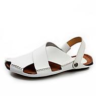Sandaalit-Tasapohja-Miehet-Nahka-Valkoinen Musta Vaalean ruskea-Ulkoilu Rento-Comfort Valopohjat