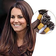 hiuksista neitsyt Brasilian hiukset kynsien u torjuen keratiini fuusio hiustenpidennykset suora mikrorenkaat väri # 4 1g / säie