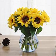 6 haara Silkki Auringonkukat Keinotekoinen Flowers