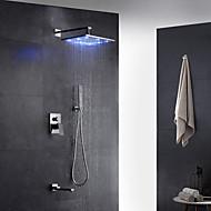 Σύγχρονο Art Deco / Ρετρό Μοντέρνα Επιτοίχιες LED Ντουζιέρα Βροχή Αποσπώμενο Σπρέι with  Βαλβίδα Ορείχαλκου Ενιαία Χειριστείτε δύο τρύπες