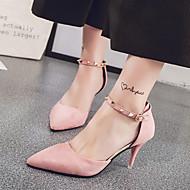 Feminino-Saltos-Conforto Sapatos clube-Salto Agulha-Preto Rosa claro Amêndoa-Camurça-Escritório & Trabalho Social