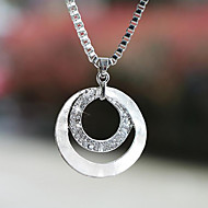Dame Halskædevedhæng Cirkelformet Sølvbelagt Simuleret diamant Legering Enkelt design Mode Sølv Smykker For Bryllup Fest Daglig Afslappet