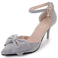 여성 힐 컴포트 PU 여름 워킹화 컴포트 레이스-업 낮은 굽 블랙 그레이 핑크 아몬드 2.5cm 이하