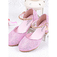 Heels Summer Comfort Light Up Shoes Glitter Casual Chunky Heel Sparkling Glitter Blue Pink Silver Other