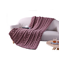 Knitted,Solid Solid Wool/Cotton Blankets