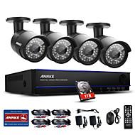 Annke® 8ch 1080p 4pcs hd video poe ip netværk cctv ahd dvr vandtæt kamera sikkerhedssystem vision 1tb
