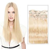 9pcs / set 디럭스 120g # 613 표백제 금발 클립 머리 확장에 16inch 20inch 100 % 스트레이트 인간의 머리카락