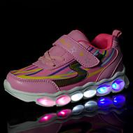 女の子-アウトドア カジュアル アスレチック-PUレザー-フラットヒール-コンフォートシューズ アイデア 靴を点灯-スニーカー-ブルー ピンク