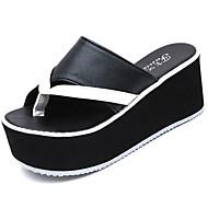Γυναικείο Παπούτσια PU Καλοκαίρι Creepers Παντόφλες & flip-flops Ενιαίο Τακούνι Creepers Στρογγυλή Μύτη Διαφορετικά Υφάσματα Για Causal