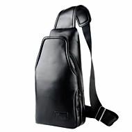 Homem Sling sacos de ombro Couro Ecológico Todas as Estações Preto
