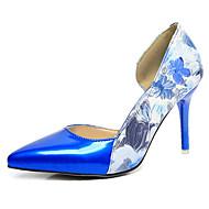 Dámské Podpatky Pohodlné hrbit boty PU Jaro Podzim Ležérní Chůze Pohodlné hrbit boty Aplikace Vysoký Bílá Fuchsiová Modrá 5 - 7 cm