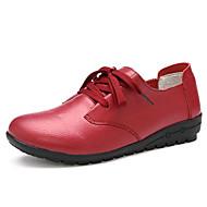 Damen-Flache Schuhe-Outddor Büro Lässig-Leder-Keilabsatz-Leuchtende Sohlen Club-Schuhe-