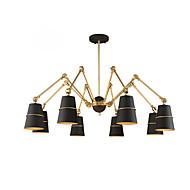 8 Lights Chandelier Vintage Brass Rose Rust Painting Color Metal for Living Room Bedroom E14