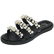 Feminino Sandálias Conforto Couro Ecológico Verão Ar-Livre Caminhada Rendado Botão Rasteiro Branco Preto Menos de 2,5cm
