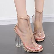 Feminino-Botas-Shoe transparente-Salto Grosso--Borracha-Social