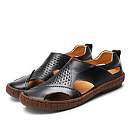Men's Sandals Hole Shoes Light Soles Cowhide Leather Spring Summer Office & Career Casual Flat Heel Brown Black Flat