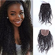 Malaysian Kinky Curly Lace Closure 10-18 inch 4*4 Free/Middle/Three Part Remy Human Hair Curly Closure Natural Color
