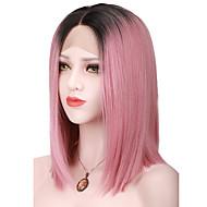 Vrouw Kort Roze Haar Bobkapsel met middenlijn Ombre haar Bob Haircut Synthetisch haar Kanten VoorkantNatuurlijke pruik Halloween Pruik