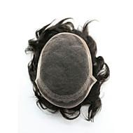 7x9 peruki-indian remy włosy torebki lekki fala pełny koronki toupees z pu świątyń do świątyń