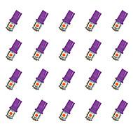 20ks t10 5 * 5050 smd led žárovka automobilu purpurové světlo dc12v