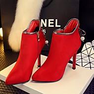 Støvler-PU-Komfort-Damer-Sort Rød-Fritid