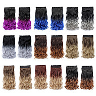 22 Inch High Temperature Synthetic Fiber Clip in Ombre Wavy Hair Extensions with 5 Clips
