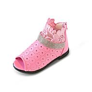 女の子 サンダル コンフォートシューズ フラワーガールシューズ 穴の靴 PUレザー 春 夏 カジュアル ドレスシューズ パーティー ラインストーン ジッパー フラットヒール ホワイト ピンク フラット