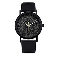Dames Modieus horloge Kwarts Automatisch opwindmechanisme Leer Band Zwart