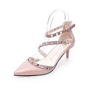 Feminino Sapatos De Casamento Couro Envernizado Couro Ecológico Primavera Branco Vermelho Rosa claro Rasteiro