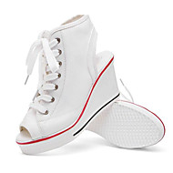 Dames Sneakers Canvas Lente Wit Zwart Rood Plat