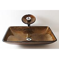 Antik Rektangulær sink Materiale er Hærdet Glas Badeværelse Håndvask