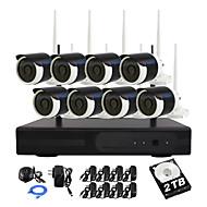 yanse® 2TB hdd 8 csatornás 960p vízálló vezeték nélküli Wi-Fi IP kamera NVR készletek ir DVR 1.3MP CCTV kamera