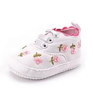 ילדים תינוק נעלי ספורט צעדים ראשונים אריג סתיו חורף קזו'אל שמלה מסיבה וערב צעדים ראשונים פרח סרט גומי עקב שטוח לבן ורוד שטוח