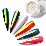 Top Neon Sparkle Unicorn Mirror Nail powder 0.2g ultra thin aurora mermaid chrome pi g ment manicure nail diy jewelry