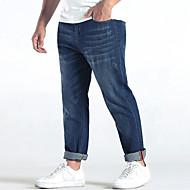Herren Einfach Mittlere Hüfthöhe Mikro-elastisch Gerade Jeans Lose Gerade Hose einfarbig