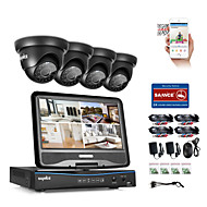 SANNCE® 8CH 4PCS 720P Weatherproof Surveillance Security System 4IN1 1080P LCD DVR Monitor Supported TVI Analog AHD