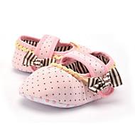 ילדים תינוק נעליים ללא שרוכים צעדים ראשונים בד קיץ סתיו קזו'אל שמלה מסיבה וערב צעדים ראשונים פפיון קפלים אסוף מנוקד עקב שטוח ורוד שטוח